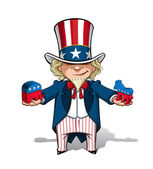 Uncle Sam Republican n Democratic — Stock Vector