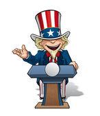 Uncle Sam Presidential Podium Open — Stock Vector