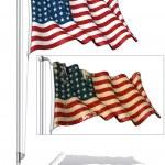 Flag Pole US Flag WWI-WWII (48 stars) — Vector de stock