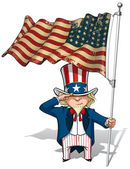 Uncle Sam Saluting the US WWI-WWII (48 star) Flag — Stock Vector