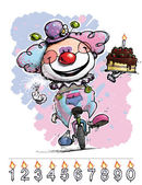 Clown on Unicle Carrying a Baby's Birthday Cake — Stock Vector