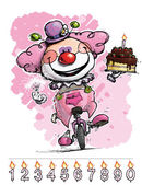 Clown on Unicle Carrying a Gils's Birthday Cake — Stock Vector