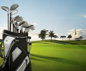 Golf equipment and course — Stock Photo