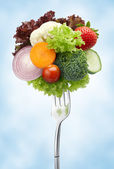 Variety of vegetables on fork — Stock Photo