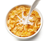 Corn flakes with milk — Stock Photo