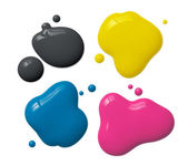 Splattered cmyk ink — Stock Photo
