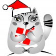 Stock Photo: Christmas cat with gift