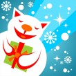 Snow cat with gift — Stock Photo