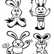 Cartoon rabbits set — Stock Photo