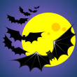 Bats and moon — Stock Photo