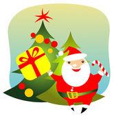 Happy santa with gift — Stock Photo