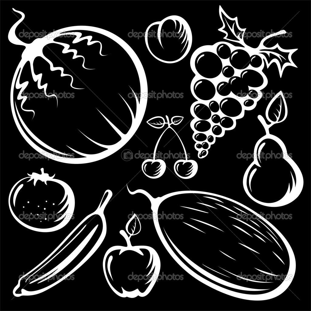 程式化的水果设置隔离在黑色背景上的剪影