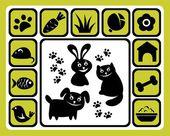 Set di icone dell'animale domestico — Vettoriale Stock