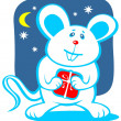 Cartoon christmas mouse — Stock Photo