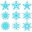 Nine blue snowflakes — Stock Photo