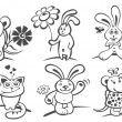 Stock Photo: Cartoon animals with flowers