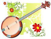 Banjo and flowers pattern — Stock Photo
