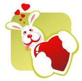 Enamored rabbit and heart — Stock Photo