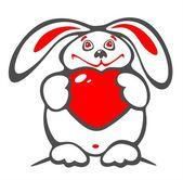 厚厚的兔子和心 — 图库照片