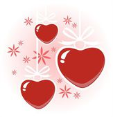 Three hearts and flowers — Stock Photo