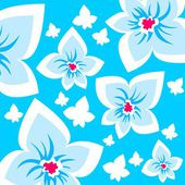 Blue ornate flowers background — Stock Photo
