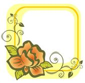 Yellow rose frame — Stock Photo