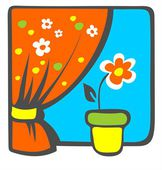 Flower on windowsill — Stock Photo