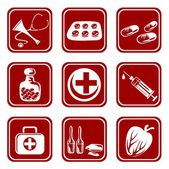 Nine medical symbols — Stock Vector