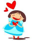 年轻的女孩和心 — 图库照片