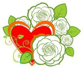 Heart and roses — Stock Photo