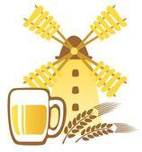 Beer mug and windmill — Stock Photo