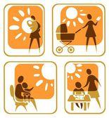 Motherhood symbols set — Stock Photo