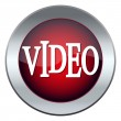 Stock Vector: Red web button labeled video