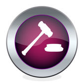Button with the hammer, the judge — Stock Vector