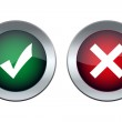 Tick and cross buttons — Stock Vector