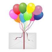 Enveloppe et ballons colorés — Vecteur