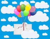 Colorful balloons and envelope — Stock Vector