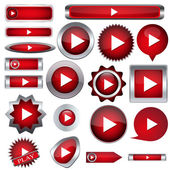 Set of red buttons to play — Stock Vector