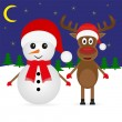 Christmas deer and snowman — Stock Vector