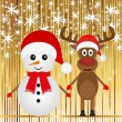Christmas snowman and reindeer — Stock Vector