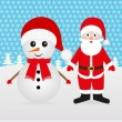 Snowman and Santa Claus - Stock Vector