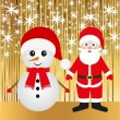 Santa and snowman — Stock vektor