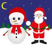 Muñeco de nieve y santa claus — Vector de stock