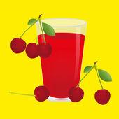 Cerezas y bayas de jugo de cereza — Vector de stock