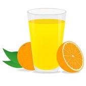 Orange juice and oranges — Stock Vector