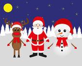 Snowman, Santa Claus and Christmas reindeer — Stock Vector