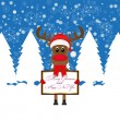 Christmas reindeer with Banner — Stock Vector