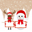 Snowman and Christmas reindeer — Stock Vector #15919397