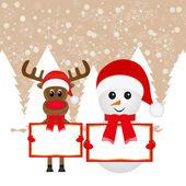 Snowman and Christmas reindeer — Stock Vector