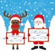 Santa Claus and Christmas reindeer with congratulatory banners — Stock vektor
